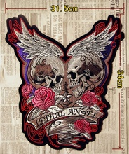 13.4'' inches Embroidery twill Biker Patches LETHAL ANGEL for Jacket Back Motorcycle Club MC Surport