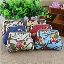 Fashion Oilcloth OWL Butterfly Polka Dot Flower Small Coins Cash Purse Girls Wallet Bags Vacuum Storage Organizer Hand Bag Pouch