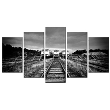 5 Piece Wall Art Decor Black&White Train Tracks Modern Painting HD Picture Vintage Retro Canvas Giclee Print Artwork Wall Murals