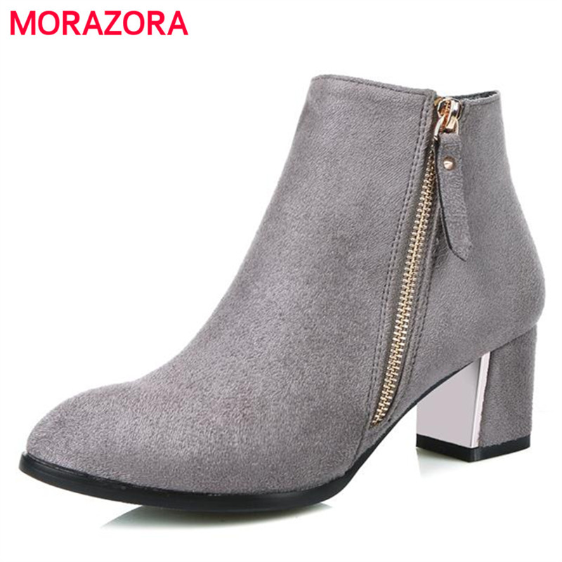 MORAZORA Plus size 34-43 women boots square heel high heels boots 5.5cm fashion pointed toe ankle boots dress<br>