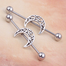 14G 38mm Sexy Hollow Moon Industrial Barbell Bar Ear Ring Body Piercing Jewellery NEW Style wholesales