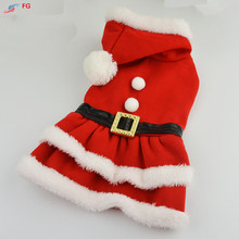 Lovely Pet Christmas Dress Red Cotton Warm Dog Pet Dress Clothes