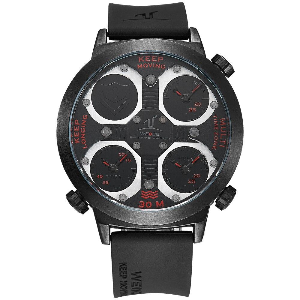 Weide Men Sports Military Watch Multifunctional Quartz -Clock LCD Digital Silicone Strap Horloges Three Time Zones UV1503<br>