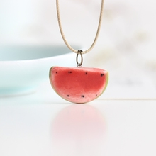 Summer Lovely Watermelon Fruit Necklace Handiwok Ceramic Small Adorn Article Jewelry for Girl Women Rope Chain Wholesale
