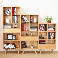 Bookcases Living Room Furniture Home Furniture solid oak wood bookcase with drawer bookshelf whole sale 2017 Japan style hot(China)