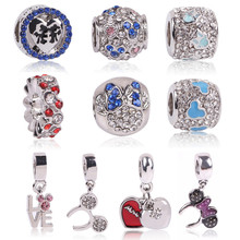 Fit Original Pandora Charms Bracelet Silver Color Cute Lovely Minnie Mickey Charm Bead DIY Jewelry Making Accessories For Gift