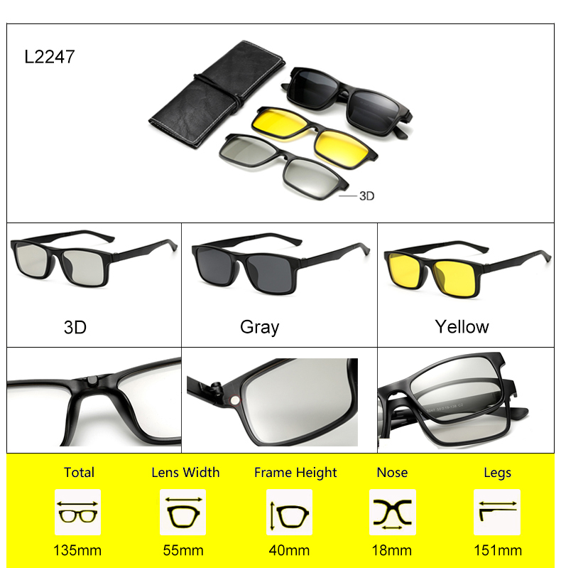 Ralferty 2018 Multi-Function Magnetic Polarized Clip On Sunglasses Men Women Ultra-Light TR90 3D Yellow Night Vision Glasses 8