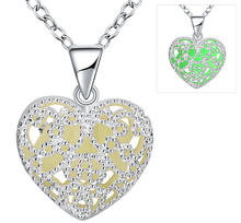 Fashion Jewelry Glow In The Dark Rhinestone Leaf Heart Locket Pendant Silver Glowing Choker Hollow Silver Plated Necklace