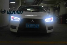 Free shipping for VLAND Car head lamp for Mitsubishi Lancer EX 2008-2015 LED head light Bi-Xenon lens headlights with devil eye(China)