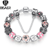 BISAER New Silver Color Pendants Pulseras Crown Flower STARS Safety Bead Pink Charm Bracelet amp Bangles GO1471(China)