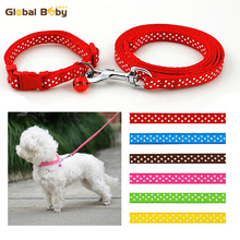 6 Colors 2 Sizes Polka Dot Style Dog Collar Nylon Pet Collar and Leash Lead Set