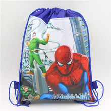 Birthday Kid Favors Cartoon Backpacks Party Gift Bags decoration for Boy Girl Favors Spiderman Theme Party Drawstring Bag 6pcs(China)