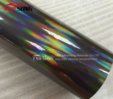 Premium quality Black holographic  rainbow vinyl film with bubbles rainbow wrap sticker with size:1.52x20m/Roll by free shipping