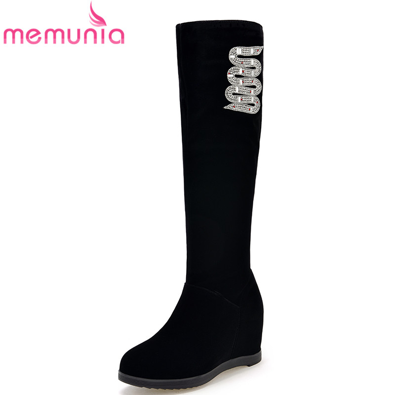 MEMUNIA fashion autumn winter new arrive women boots black bling height increasing knee boots round toe elegant ladies boots<br>