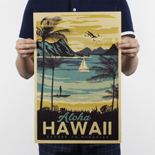 Aloha Hawaii /famous tourist /Landscape painting/kraft paper/bar poster/Retro Poster/decorative painting 51x35.5cm