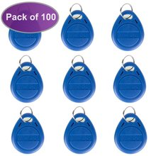 OBO HANDS Proximity EM4100 EM4102 125KHz RFID ID Card Tag Token Key Chain Keyfob Read Only Color Blue pack of 100(China)