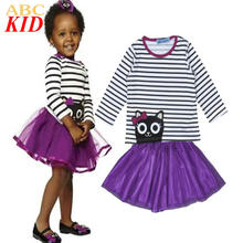 New Year Party Girls Clothes 2-6Years Girls 2PCS Kitty Sets Long Sleeves Striped Cat Tee+TUTU Dress Girls Princess dress KC133