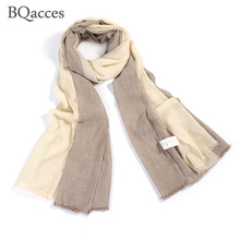 BQacces new fashion women two color 100% cotton scarves lady solid plain style thin silk scarf shawl warp hijab high quality