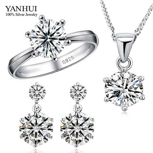 Big Promotion!!! Fashion 925 Sterling Silver Jewelry Sets Luxury CZ Diamant Necklace Earrings Ring Wedding Jewelry Sets JZR010(China)