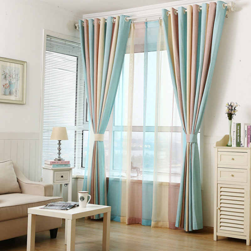 European style Color Blackout Bars Jacquard Curtains for Bedroom Tulle Curtains Sets in the Nursery Drapery Window  094