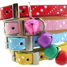 Luck Pet Products Manufacturer Retail Fashion Dot Print Leather Cat Collar With Bells Size 1*30 Cm 4 Colors For Cat(China)