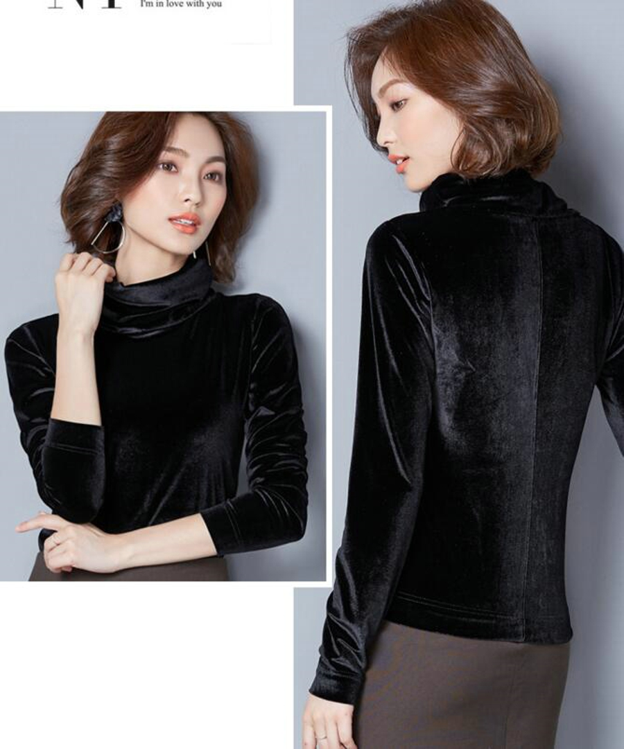 WANXIANGYUAN Women Long Sleeve Blouse 2017 Autumn Fashion Turtleneck Shirt Women Ladies Velvet Warm Blouses Shirts for Women 05