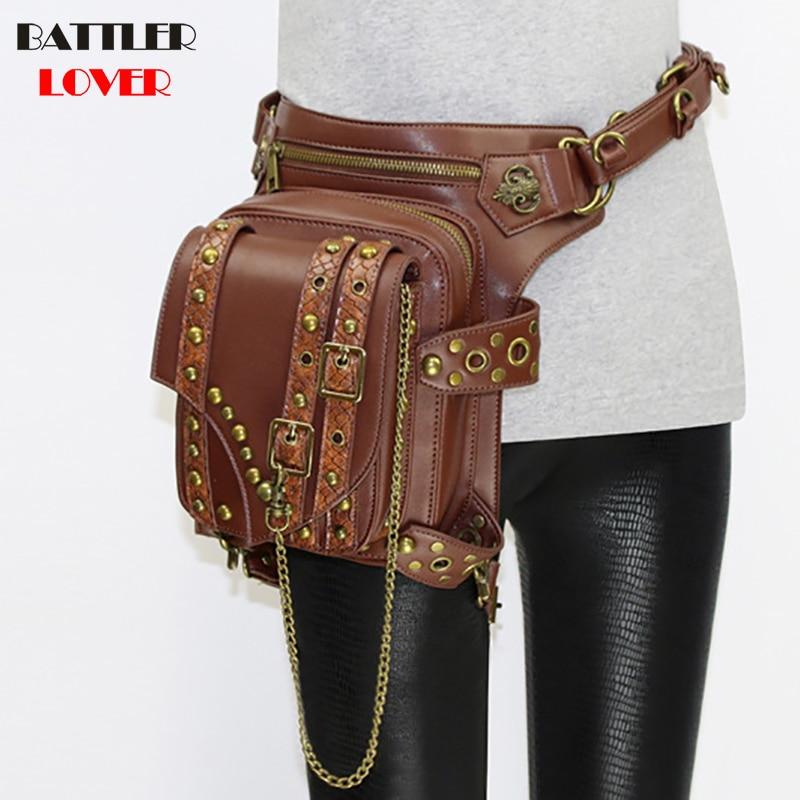 Ladies Pockets Retro Messenger Bag Punk Mujer Femme Women Shoulder Bag Men Hombre Womens High Quality PU Leather Travel Leg Bag