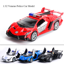 J&CLIFE 1:32 Veneno Police Car Model Toys Metal Alloy Diecast Toy Car Model Miniature Scale Model Sound and Light Cars