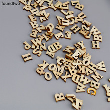 200Pcs Mixed A-Z Letter Alphabet Natural Wooden Number Decor Wood Letters Craft Flatback Scrapbooking Decoration(China)