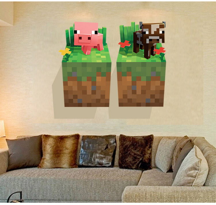 HTB1 Yhzgo1HTKJjSZFmq6xeYFXai - Newest Minecraft Wall Stickers 3D Wallpapers Kids Room Decals Minecraft Steve Home Decoration Popular Games Home Free Shipping