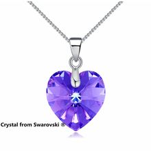 Labekak Mini Heart Pendant Necklace Crystals From SWAROVSKI Elements Silver Color Chain Necklaces For Women Kids Jewelry(China)