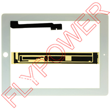 For ipad 3 For ipad 4 touch screen digitizer glass panel white with free 3M sticker by free DHL, UPS or EMS; 100% new; 10pcs/lot(China)
