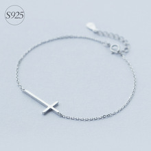 Buy 1pc Solid. Real. 925 Sterling Silver crucifix Cross Religion Rolo Chain bracelet adjustable charm Sterling-Silver-jewelry LS174 for $8.04 in AliExpress store