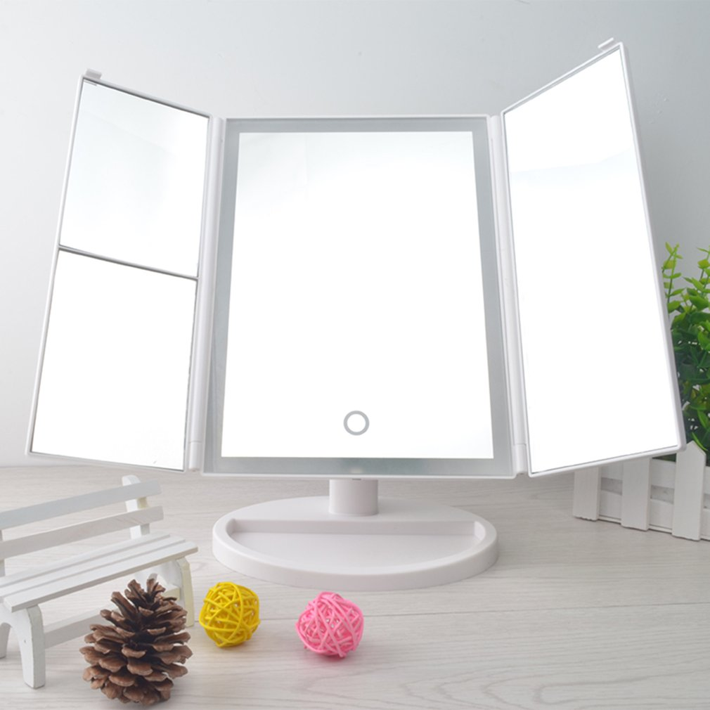 Desktop 36LED Facial Makeup Mirror Compact Size 180 Degree Rotation Tabletop Cosmetic Makeup Mirror With Magnification new<br>