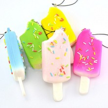 New 1Pcs Squishy Bread Chocolate Sprinkles Popsicle Phone Straps Soft Scented Charms Lanyard Mobile Phone Strap