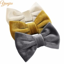 Hair Accessories Funky 2017 4 inches Velvet Kids Girl Hair Bow For Men Groom Tie Brooch Barrette Hair Clip For Party Headbands(China)