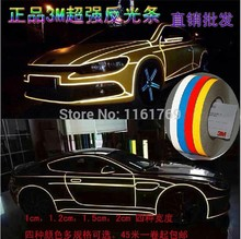 1.0CM*9Meter DIY 3M Reflective Sticker Automobile luminous strip car&motorcycle&bicycle Decoration Sticker/white/yellow/bule/red