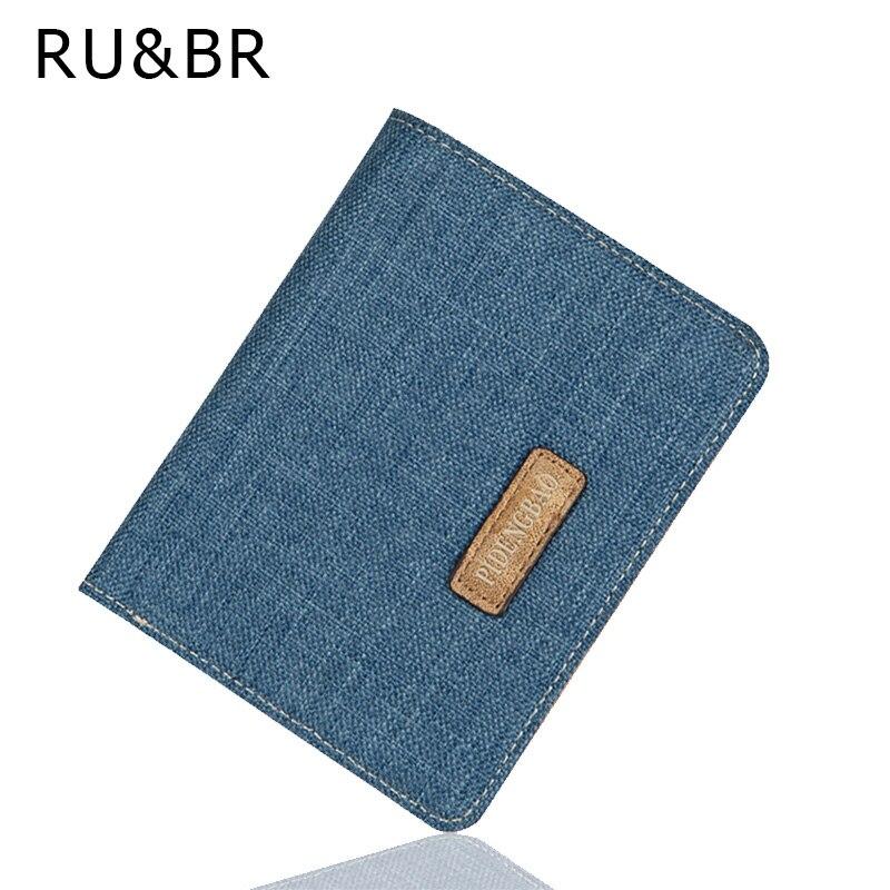 RU&amp;BR Korean Style Fashion Men Wallets Canvas Design Business Card Holder Wallet Short Man Clutch Money Package ID Holders Purse<br><br>Aliexpress