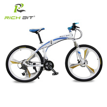 Richbit Aluminum Folding Bicycle 27 speeds Mountain Bike Dual Disc Brakes Variable Speed Road Bike Racing Bicycle White and Blue(China)