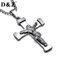 D&Z Religious INRI Crucifix Pendant & Necklace Silver Color Stainless Steel 60MM Chain Jesus Cross Necklace for Men Jewelry(China)