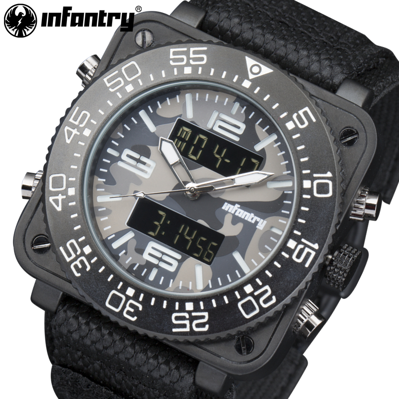 INFANTRY Men Watches Luxury Camo Style Waterproof Military Quartz Watches Relojes Square Face Analog-Digital Luminous Wristwatch<br>