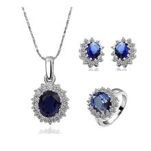 Princess Diana William Kate Middleton's 3.2ct Created Blue white gold colour necklace+earrings+Ring sets For Women(China)