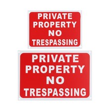 2 Sizes PRIVATE PROPERTY NO TRESPASSING Plastic Stickers Warning Signs Decal 300*200mm /200*150mm