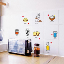 Breakfast food milk jam jar pattern removeable wall kitchen counter wentilator fridge stickers Decorations Wall Decals S105 *30