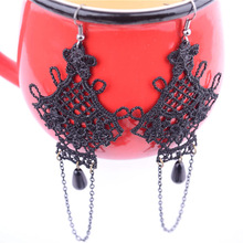 Gothic Lace Drop Earrings Women Pearl Long Tassel Earring Big Dangle Statement Eardrop Ladies Fashion Jewelry Accessories(China)