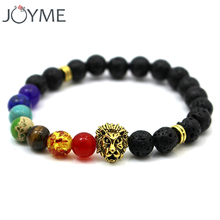 Beads Lion Bracelet For Men Black Lava Natural Stone Yoga 7 Chakra Hologram Bracelet For Men Women