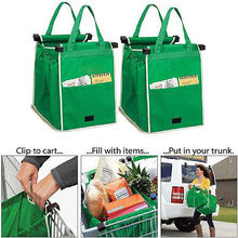 Reusable Large Trolley Clip-To-Cart Grocery Shopping Bags Portable Green Cloth Bag Foldable Tote Handbags