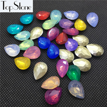 New 50pcs 10x14mm,13x18mm Teardrop Fancy Stone Resin More Opal Colors Pointed Back Pear Drop Opals Jewelry Making(China)