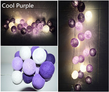 New design cool Purple tone Cotton Ball String Lights Fairy lights Party wedding xmas garland(China)