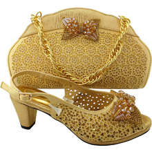 Gold Color Italian Shoes with Matching Bag High Quality African Shoe and Bag Set for Party In Women Nigerian Women Wedding Shoes